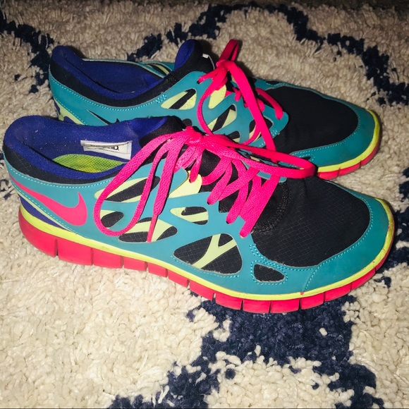 multi colored running shoes